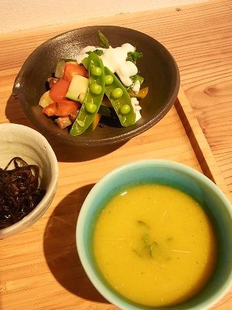 野菜のグリルとスープ